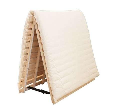 アイリスプラザ すのこベッド 檜 二つ折り 通気性 ダブル 天然木
