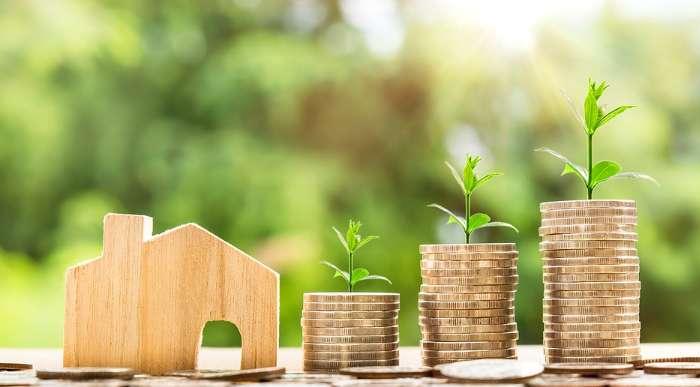 家の模型とコインから生える草