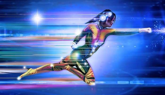 高速で走る女性