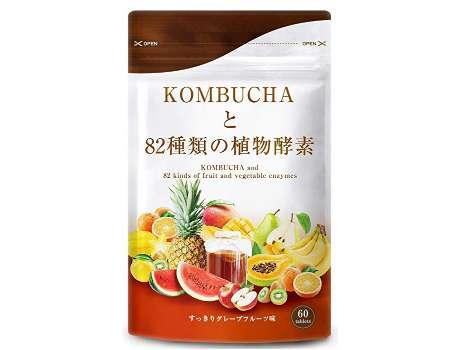 健やかの杜 コンブチャと82種類の植物酵素 グレープフルーツ味 タブレット