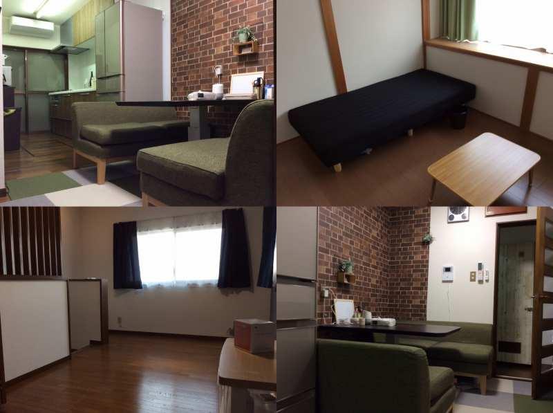 京都上桂シェアハウス コモンホーム1号館のリビングルームと個室の写真
