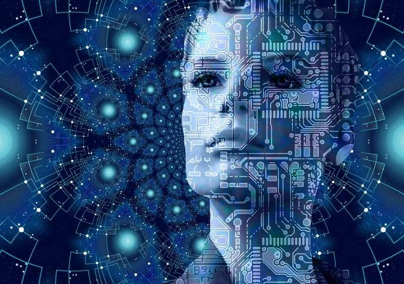 コンピュータの基盤と重なっている女性の顔