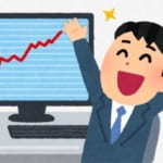 株や為替(仮想通貨)の相場が上昇して喜んでいる株のトレーダーと、相場のチャート(グラフ)が表示されたモニタのイラスト