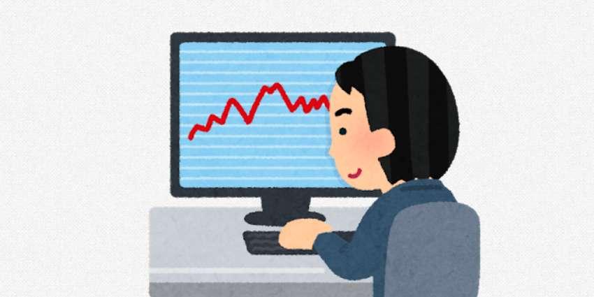 株や為替(仮想通貨)の相場の推移を見つめている株のトレーダーと、相場のチャート(グラフ)が表示されたモニタのイラスト
