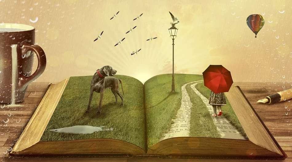 開いた本の上で展開される物語