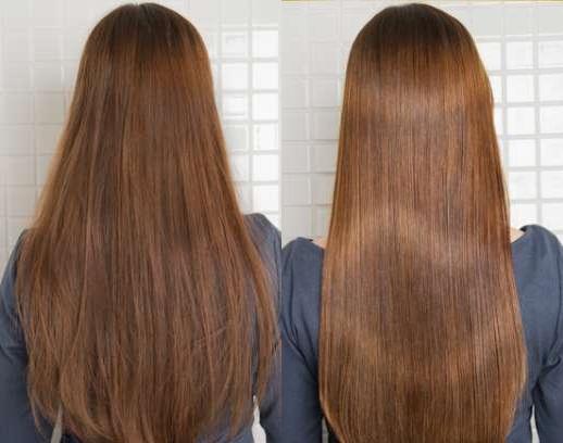 クレムドアンクリームシャンプーの使用前と使用後の髪の状態を撮影したビフォーアフター写真