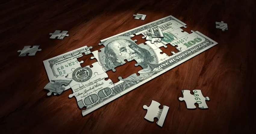 ドル紙幣がパズルのピース