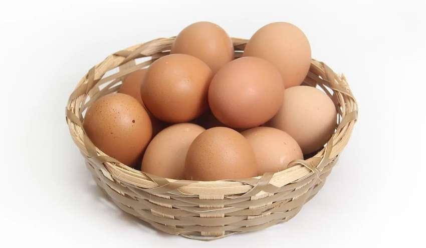 カゴ(バスケット)に盛られたたくさんの卵